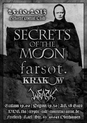 Cryptic Cult Concerts presents Secrets of the Moon, Farsot , Wrack